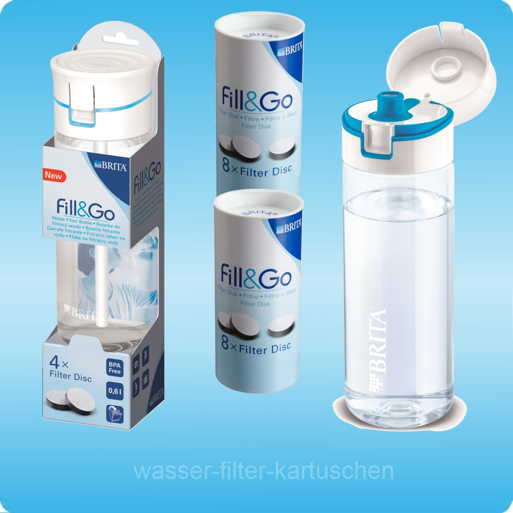 1 20 brita fill go blau wasser trinkflasche 20 filter discs extra zainis ebay. Black Bedroom Furniture Sets. Home Design Ideas